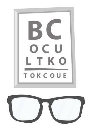 メガネと視力は、眼の検査のための文字とグラフをテストします。医療機器。ベクトル漫画イラスト白背景に分離されました。  イラスト・ベクター素材
