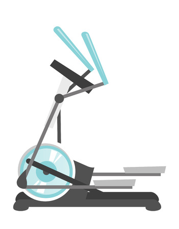 Elliptical cross trainer machine. Sport equipment. vector cartoon illustration isolated on white background.