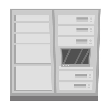 Data center with server cabinets vector cartoon illustration isolated on white background.