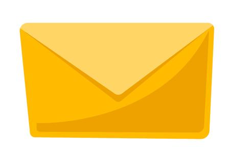 닫힌 된 노란색 봉투 벡터 만화 일러스트 레이 션 흰색 배경에 고립.