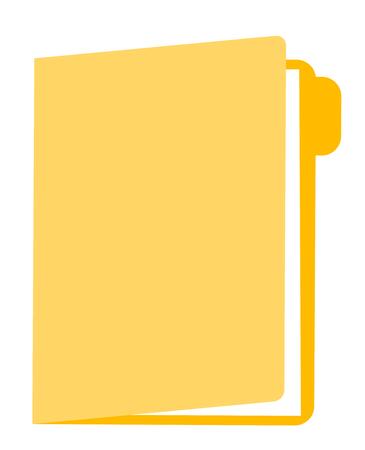 Gele omslag met illustratie van het documenten de vectorbeeldverhaal die op witte achtergrond wordt geïsoleerd. Stock Illustratie