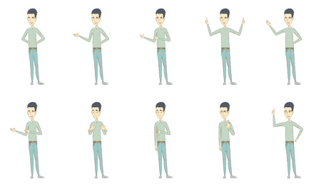 Young asian man set. Man shrugging shoulders, standing with raised arms, showing thumb down, palm hand, pointing finger up. Set of vector sketch cartoon illustrations isolated on white background.