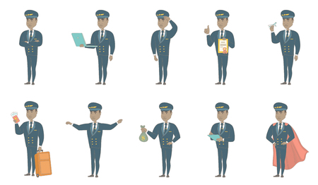 Young african-american airplane pilot set. Airplane pilot saluting, showing passport, writing notes in the list of passengers. Set of vector sketch cartoon illustrations isolated on white background.
