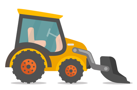 Wheeled loader excavator with a steel scoop. Construction machinery equipment. Vector cartoon illustration isolated on white background.