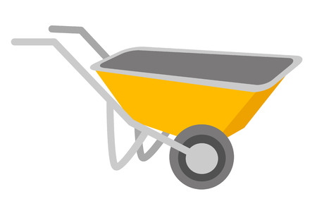 hauling: Yellow wheelbarrow vector cartoon illustration isolated on white background. Illustration
