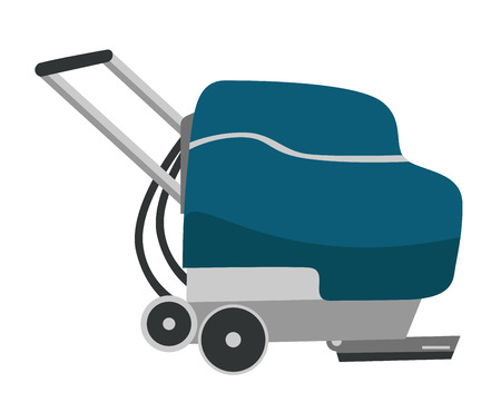 Floor washing and buffing machine. Floor care and cleaning service. Vector cartoon illustration isolated on white background.
