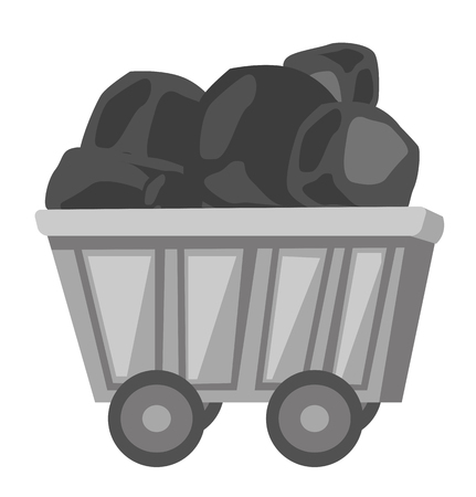 Railway wagon loaded with coal vector cartoon illustration isolated on white background. Illustration