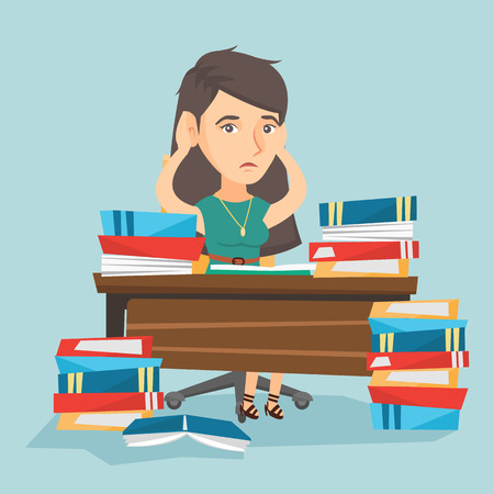 Young stressed caucasian student sitting at the table with a lot of books. Worried student studying before the exam with lots of books and clutching head. Vector cartoon illustration. Square layout.