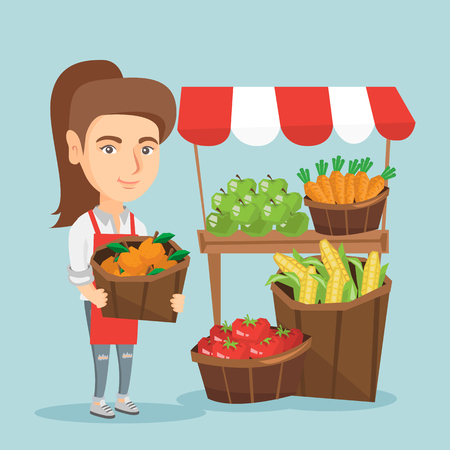 Caucasian street seller standing near the stall with fruits and vegetables. Street seller standing near the market stall and holding a basket of oranges. Vector cartoon illustration. Square layout.