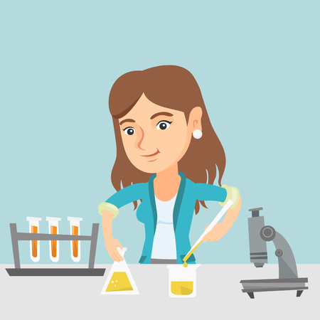 Caucasian female student carrying out laboratory experiment. Young happy student working with a microscope and laboratory equipment with chemical liquid. Vector cartoon illustration. Square layout.