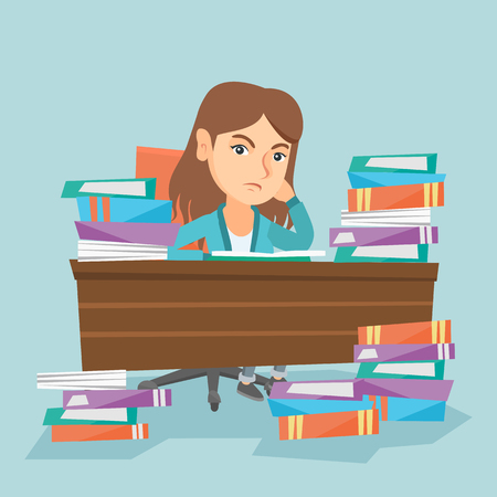 Caucasian annoyed student studying hard before the exam with a lot of books. Young angry student sitting at the table with propped head with many books. Vector cartoon illustration. Square layout. Stock Vector - 88349525