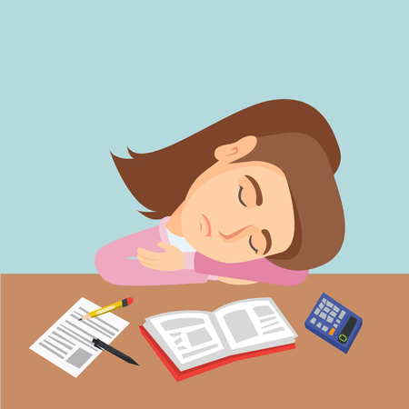 Fatigued caucasian student sleeping on the desk with book, stationery and calculator. Young student sleeping after learning on the table. Education concept. Vector cartoon illustration. Square layout.