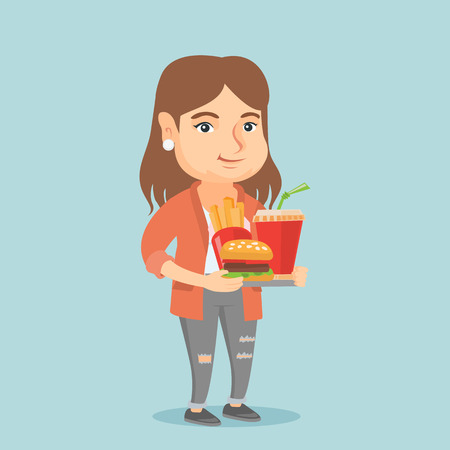 Fat caucasian woman holding a tray with fast food. Young plump woman having lunch in a fast food restaurant. Concept of unhealthy nutrition. Vector cartoon illustration. Square layout. Illustration