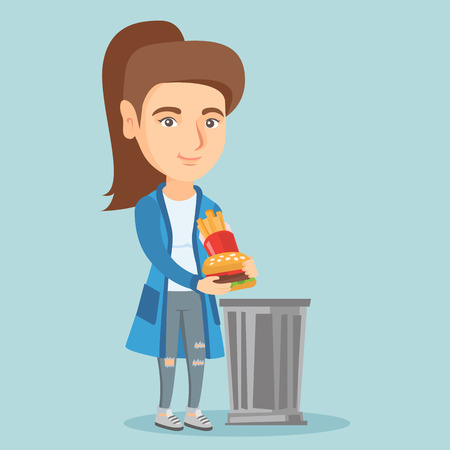 Caucasian woman putting junk food into a trash can. Smiling woman refusing to eat junk food. Young woman rejecting junk food. Woman throwing out junk food. Vector cartoon illustration. Square layout.
