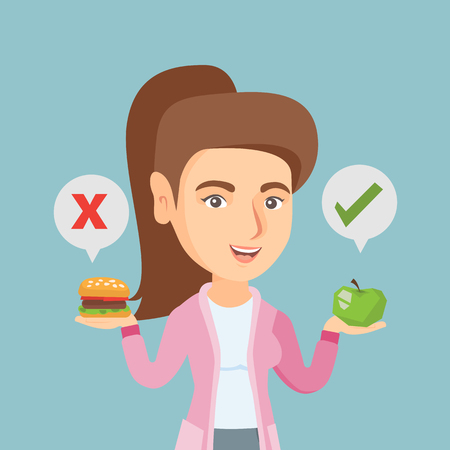 Young caucasian woman holding apple and hamburger. Woman choosing between apple and hamburger. Concept of choice between healthy and unhealthy nutrition. Vector cartoon illustration. Square layout.