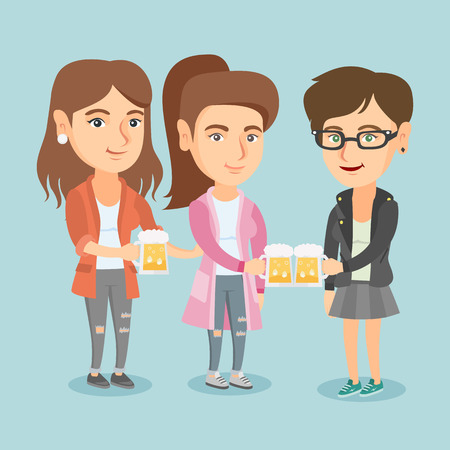 Three happy caucasian women toasting and clinking glasses of beer. Young cheerful women clanging glasses of beer. Group of female friends drinking beer. Vector cartoon illustration. Square layout. Illustration