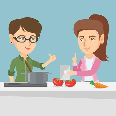 Mujeres caucásicas que siguen una receta de la comida vegetal en una tableta. Mujeres jóvenes buscando una receta en una tableta digital. Mujeres cocinando juntos. Ilustración de dibujos animados de vector. Diseño cuadrado