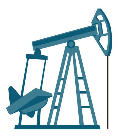 Oil pump jack vector cartoon illustration isolated on white background. Illustration