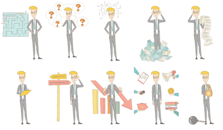 Young caucasian businessman set. Businessman choosing career way, looking at the labyrinth with solution, holding long bill. Set of vector sketch cartoon illustrations isolated on white background.