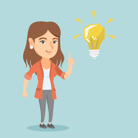 Happy caucasian student pointing finger up at the glowing idea lightbulb. Young excited student with bright idea lightbulb. Student having a great idea. Vector cartoon illustration. Square layout.  イラスト・ベクター素材