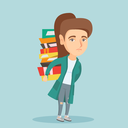 Young caucasian tired student carrying a heavy pile of books on back. Disappointed student walking with a huge stack of books. Concept of education. Vector cartoon illustration. Square layout. Illustration