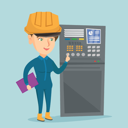 Caucasian industrial engineer in hard hat working on control panel in the control room. Industrial engineer with clipboard pressing button on control panel. Vector cartoon illustration. Square layout.
