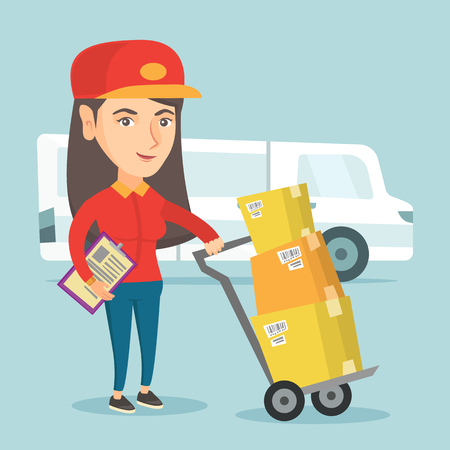 Young caucasian delivery courier pushing the trolley with cardboard boxes. Delivery courier standing in front of delivery truck and holding a clipboard. Vector cartoon illustration. Square layout. Illustration