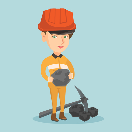 Caucasian female miner in hard hat holding a piece of coal in hands. Young smiling miner in workwear standing near a pickaxe and coal. Vector cartoon illustration. Square layout. Иллюстрация