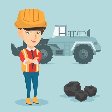 Young caucasian miner in hard hat standing on the background of a big excavator. Female confident miner with crossed arms standing near coal and excavator. Vector cartoon illustration. Square layout.