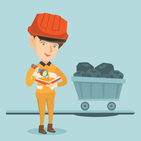 Young caucasian miner in hard hat checking documents with flashlight on the background of trolley with coal. Miner with documents standing in the coal mine.Vector cartoon illustration. Square layout.