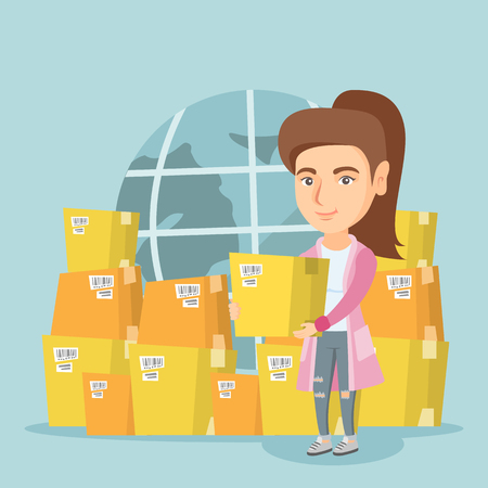 Young caucasian worker of international delivery service holding a box on the background of Earth globe and cardboard boxes. International delivery concept. Vector cartoon illustration. Square layout.