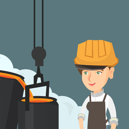 Young caucasian steelworker in a hard hat controlling the iron smelting process in the foundry. Female industrial steelworker at work in steel making plant. Vector cartoon illustration. Square layout.