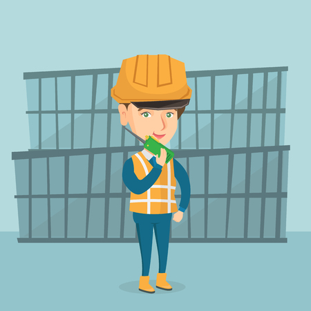 Caucasian port worker in hard hat talking on wireless radio. Female port worker standing on the background of cargo containers and using wireless radio. Vector cartoon illustration. Square layout. Illustration