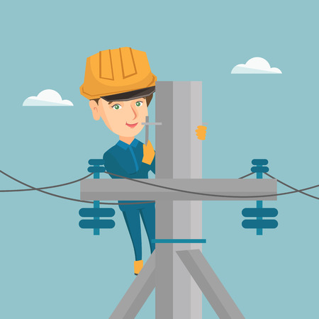 Young caucasian electrician in hard hat working on electric power pole. Female electrician repairing an electric power pole. Vector cartoon illustration. Square layout. Illustration