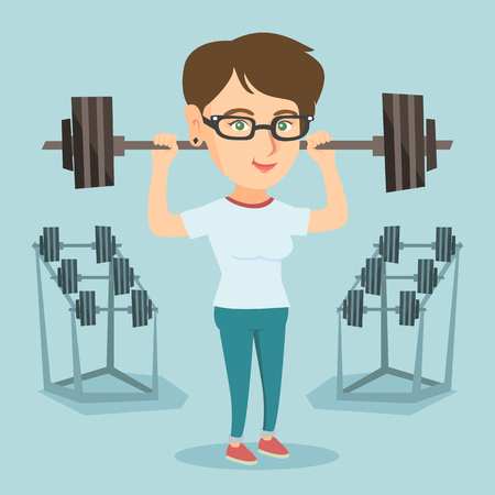 Caucasian sporty woman lifting a heavy weight barbell. Strong sportswoman doing exercise with barbell. Female weightlifter holding a barbell in the gym. Vector cartoon illustration. Square layout. Illustration