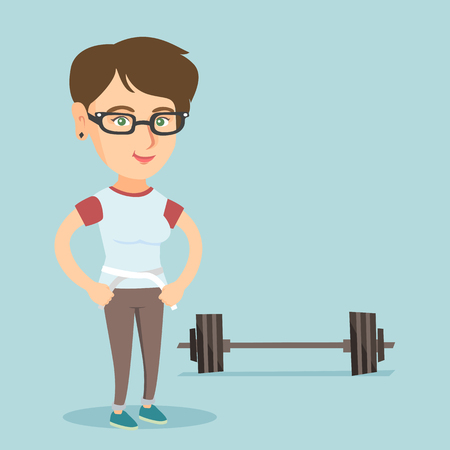 Young caucasian woman measuring her waistline with a tape. Happy woman standing next to the barbell and holding a centimeter tape on a waistline. Vector cartoon illustration. Square layout.