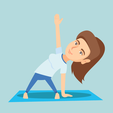Caucasian sportswoman meditating in yoga triangle position. Young happy sportswoman standing in yoga triangle pose. Sporty woman doing yoga on the mat. Vector cartoon illustration. Square layout.