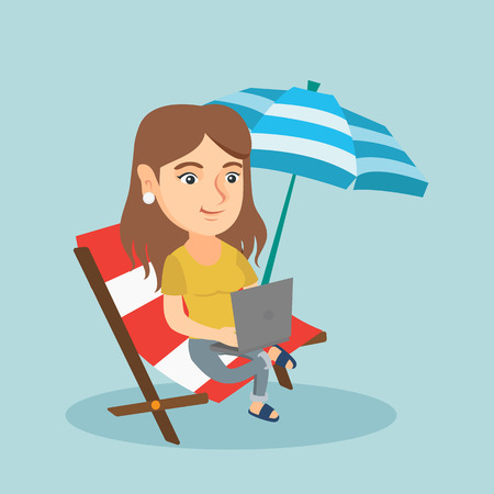 vacation with laptop: Caucasian business woman working on the beach. Young business woman sitting in chaise lounge on the beach. Business woman using a laptop on the beach. Vector cartoon illustration. Square layout. Illustration