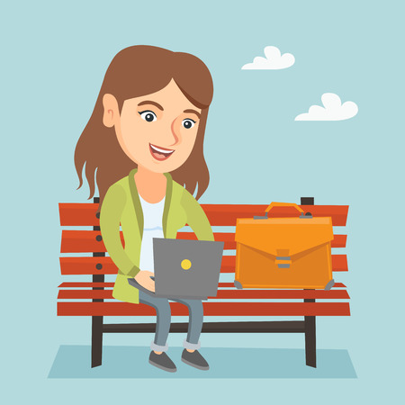 Caucasian business woman working outdoor. Smiling business woman working on a laptop. Young business woman sitting on a bench and using a laptop. Vector cartoon illustration. Square layout.