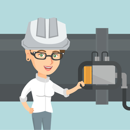 Young caucasian operator of oil refinery plant checking the detector on the pipeline. Technician of oil refinery plant in hard hat maintaining the pipeline. Vector cartoon illustration. Square layout.