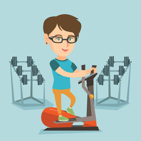Caucasian woman training on elliptical trainer in fitness club. Woman working out on elliptical trainer in gym. Woman doing exercises on elliptical trainer. Vector cartoon illustration. Square layout.
