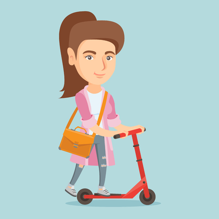 Young caucasian business woman riding a kick scooter. Business woman with a briefcase riding to work on a kick scooter. Vector cartoon illustration. Square layout.
