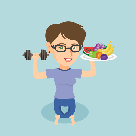 Young Caucasian woman holding healthy fruits and a dumbbell in hands. Woman choosing healthy lifestyle.