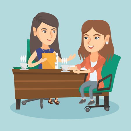 Two women talking on business meeting and drinking coffee.
