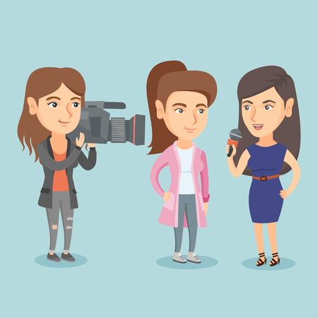Journaliste faire une interview avec une femme d & # 39 ; affaires Banque d'images - 88354147