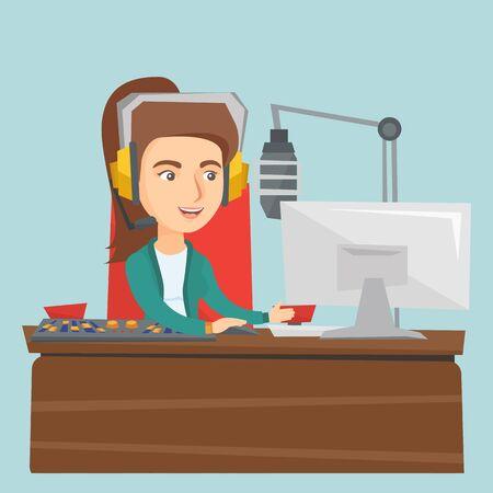 Radio host in headset working at radio studio.
