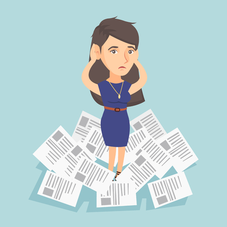 Stressful business woman surrounded by lots of papers.