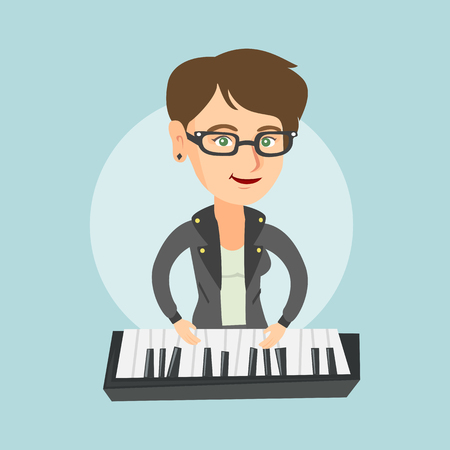 Young caucasian musician playing the piano. Illustration