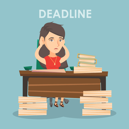 Stressed businesswoman sitting and having a headache because of a deadline. Иллюстрация