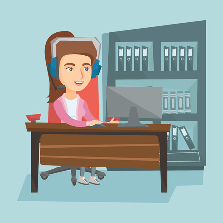 Young caucasian business woman in headset during video conference in the office. Illustration